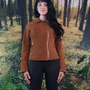 Genuine suede brown leather jacket.